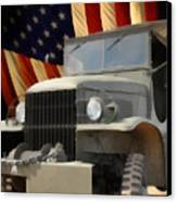 United States Army Truck And American Flag  Canvas Print by Anne Kitzman