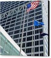 Us Bank With Flags Canvas Print