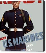 Us Marines - Ready Canvas Print by War Is Hell Store