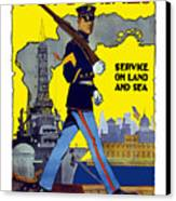 U.s. Marines - Service On Land And Sea Canvas Print by War Is Hell Store