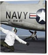 U.s. Navy Sailors Give The Thumbs Canvas Print by Stocktrek Images
