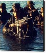 Us Navy Seal Team Emerges From Water Canvas Print by Everett