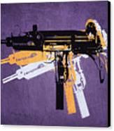 Uzi Sub Machine Gun On Purple Canvas Print