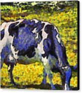 Van Gogh.s Starry Blue Cow . 7d16140 Canvas Print