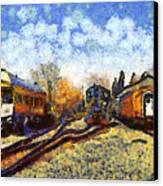Van Gogh.s Train Station 7d11513 Canvas Print