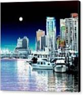 Vancouver Harbor Moonrise  Canvas Print by Will Borden
