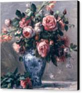 Vase Of Roses Canvas Print by Pierre Auguste Renoir