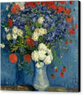 Vase With Cornflowers And Poppies Canvas Print by Vincent Van Gogh