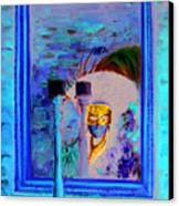 Venetian Girl Looking In Mirror Canvas Print