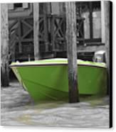 Venice Canals Green Boat Canvas Print