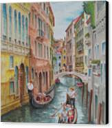 Venice Waterway  Italy Canvas Print by Charles Hetenyi