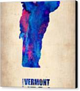 Vermont Watercolor Map Canvas Print