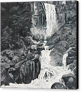 Vernal Falls Black And White Canvas Print