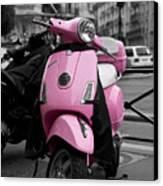 Vespa In Pink Canvas Print by Edward Myers