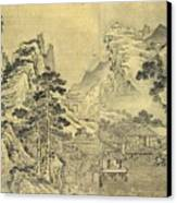 View From The Keyin Pavilion On Paradise - Baojie Mountain Canvas Print by Wang Wen