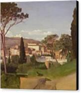 View Of A Villa Canvas Print by Jean Achille Benouville