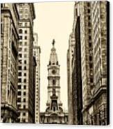 View Of Cityhall From Broad Street In Philadelphia Canvas Print by Bill Cannon