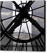 View Of Montmartre Through The Clock At Museum Orsay.paris Canvas Print by Bernard Jaubert