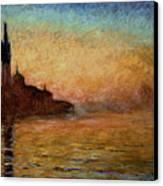 View Of San Giorgio Maggiore Venice By Twilight Canvas Print by Claude Monet