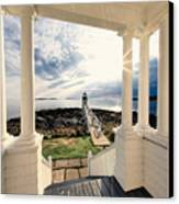 View Of The Marshall Point Lighthouse From The Keeper's House Canvas Print