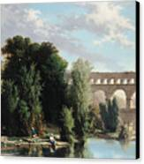 View Of The Pont Du Gard Canvas Print by Henri Marie Poinsot