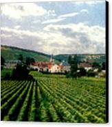 Village In The Vineyards Of France Canvas Print