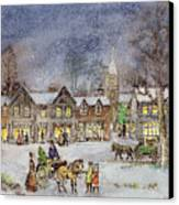 Village Street In The Snow Canvas Print by Stanley Cooke