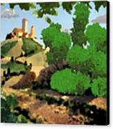 Village. Tower On The Hill Canvas Print