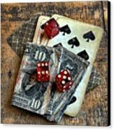 Vintage Cards Dice And Cash Canvas Print
