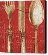 Vintage Dining Utensils In Red Canvas Print