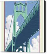 Vintage St. Johns Bridge Travel Poster Canvas Print