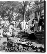 Vintage Street Scene In Ponce - Puerto Rico - C 1899 Canvas Print