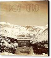 Vintage Style Post Card From Loveland Pass Canvas Print by Juli Scalzi