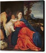 Virgin And Infant With Saint John The Baptist And Donor Canvas Print