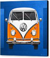 Volkswagen Type - Orange And White Volkswagen T 1 Samba Bus Over Blue Canvas Canvas Print by Serge Averbukh