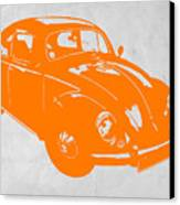 Vw Beetle Orange Canvas Print by Naxart Studio
