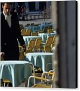 Waiter Preparing For The Day In Piazza San Marco In Venice Canvas Print