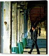 Waiter Walking At San Marco In Venice Canvas Print