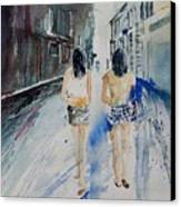 Walking In The Street Canvas Print
