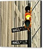 Wall Street Traffic Light Canvas Print by Oonat