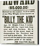 Wanted Poster For Billy The Kid Canvas Print by Everett