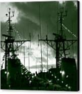 Warships At Twilight Canvas Print