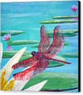 Water Lilies And Dragonfly Canvas Print