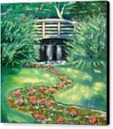 Water Lilies Bridge Canvas Print