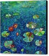 Water Lily Lotus Lily Pads Paintings Canvas Print