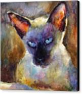 Watercolor Siamese Cat Painting Canvas Print by Svetlana Novikova