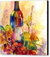 Watercolor Wine Canvas Print by Peggy Wilson