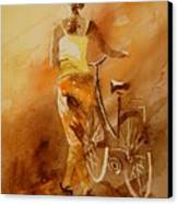 Watercolor With My Bike Canvas Print