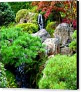 Waterfalls In Japanese Garden Canvas Print
