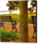 Waterfront Park Bench Canvas Print by Lori Kesten